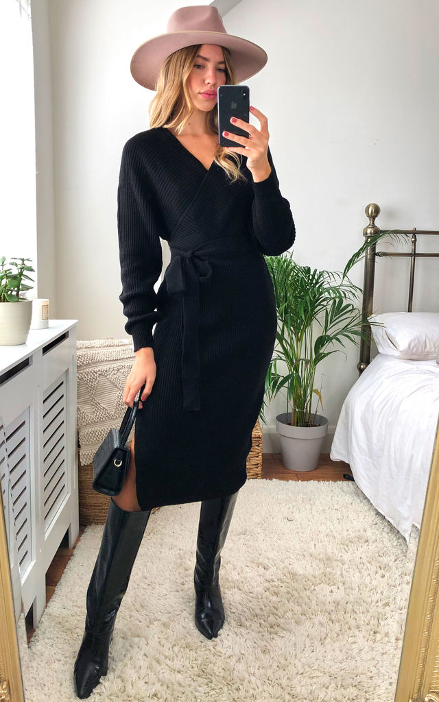 Off Shoulder Long Sleeve Knitted Wrap Midi Dress in black by Jenerique