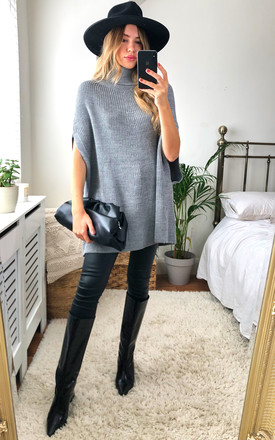 High Neck Oversize Knitted Poncho In Grey by Jenerique Product photo