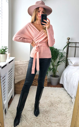 Off shoulders Kimono Long Sleeves Wrap Knitted Sweater in Pink by Jenerique