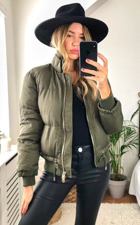 Nicole Khaki Puffer Jacket by Aleena's Collection