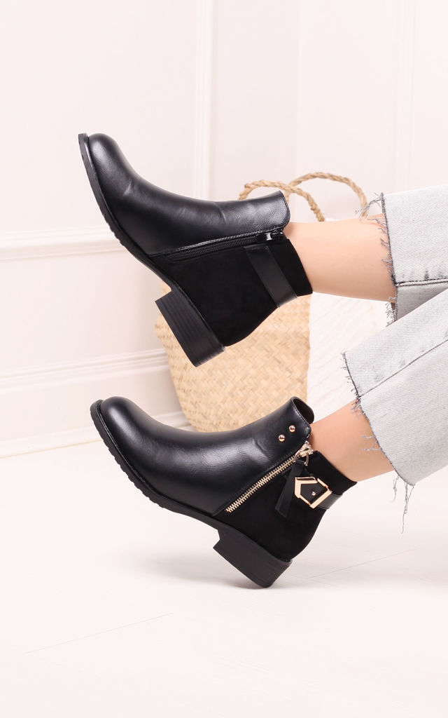 Dual Black Nappa & Suede Ankle Boot With Gold Detailing by Linzi