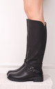 Sage Black Nappa Classic Elasticated Riding Boot With Buckle Detail by Linzi