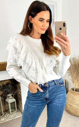 NAOMI Mesh Lace Trim Front Jumper In Ivory by Blue Vanilla