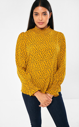 Printed High Neck Top in Mustard by Marc Angelo
