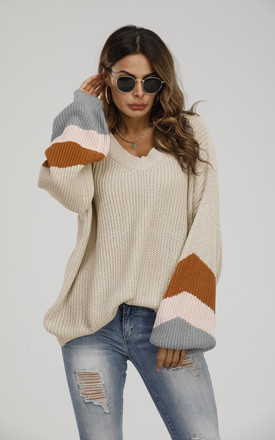 Striped Jumper In Beige & Peach Pink & Camel by FS Collection