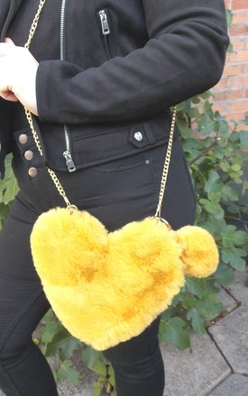 Mustard Faux Fur Heart Shaped Cross Body Bag by Olivia Divine Jewellery
