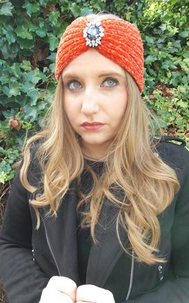 Orange Wool Jewelled Headband by Olivia Divine Jewellery
