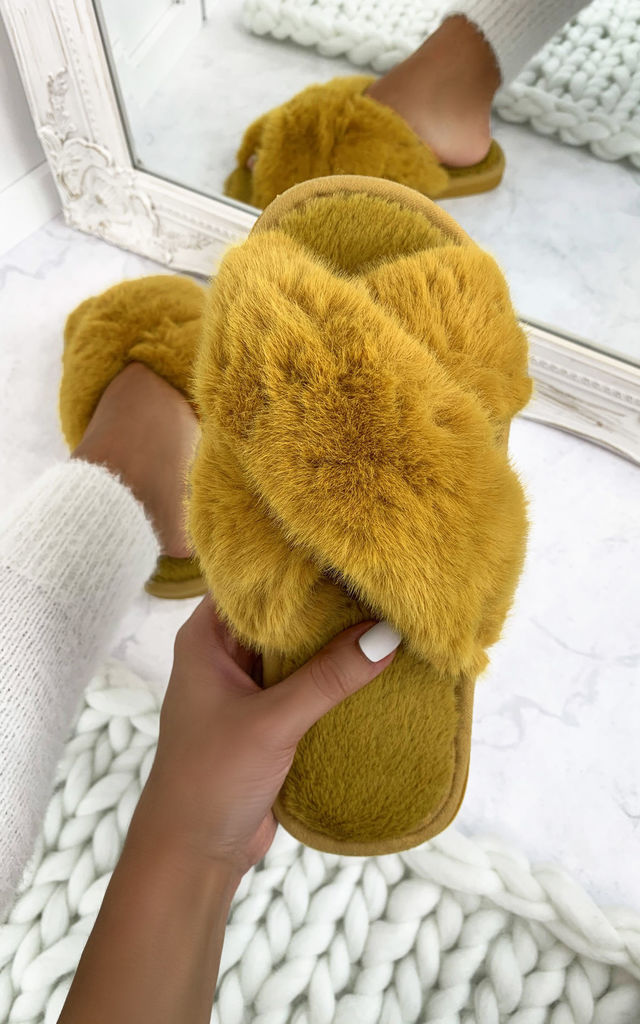 So Fluffy Crossover Mule Sleepers in Light Camel by Larena Fashion