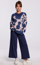 Floral Pattern Cardigan with V-Neck in Navy Blue by MOE