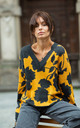 Floral Pattern Cardigan with V-Neck in Yellow by MOE