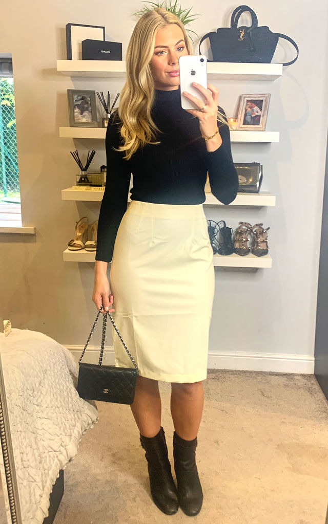 Faux Leather High Waist Midi Pencil Skirt by MISSTRUTH