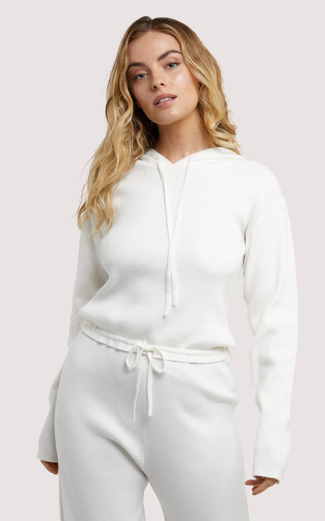 Soft Knit ribbed Cropped Hoodie in Ivory White by Wolf & Whistle
