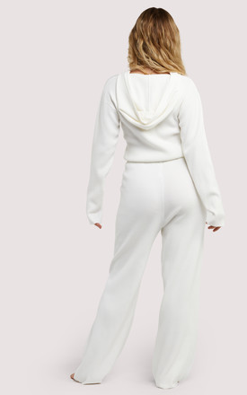 Soft Knit Ribbed Loose Lounge Trousers in IVory White by Wolf & Whistle