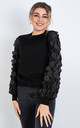 Long Sleeve Jumper with Hex ruffle design (Black) by Lucy Sparks