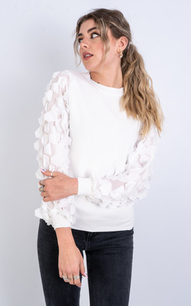 Long Sleeve Jumper with Hex ruffle design (White) by Lucy Sparks