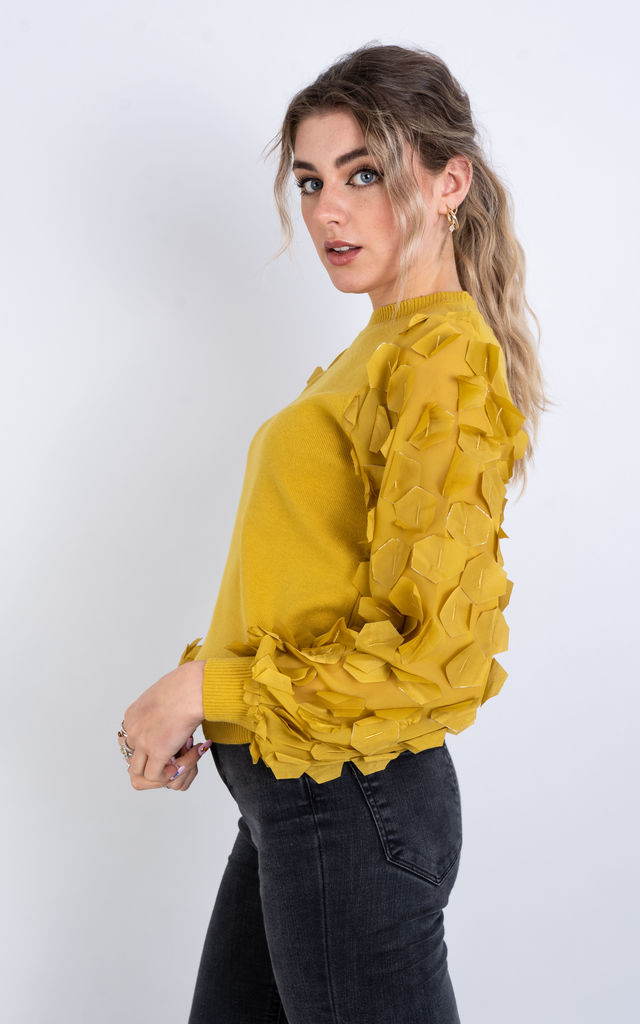 Long Sleeve Jumper with Hex ruffle design (Mustard) by Lucy Sparks