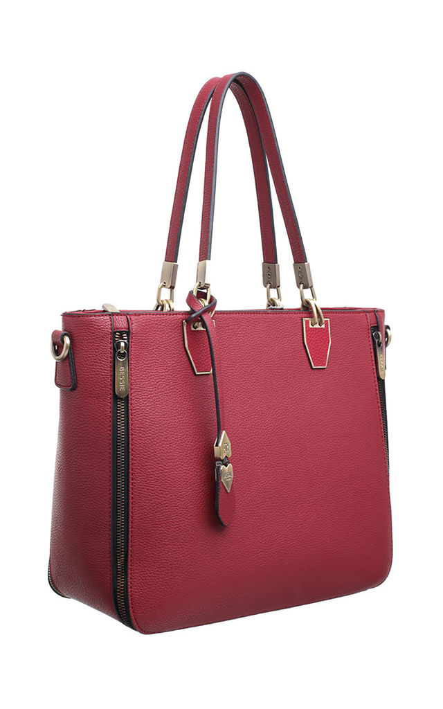ZIP FEATURE LADY SHOULDER BAG RED by BESSIE LONDON