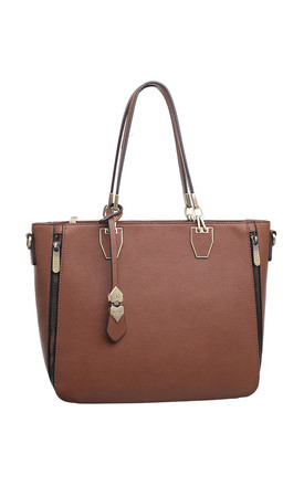 ZIP FEATURE LADY SHOULDER BAG TAN by BESSIE LONDON