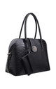 CROC PRINT BAG WITH DETACHABLE CARD HOLDER BLACK by BESSIE LONDON