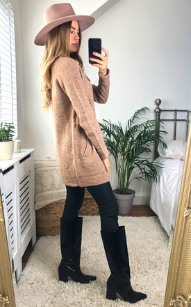 Longline knitted Cardigan With Pockets in Beige by Pieces