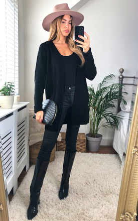 Longline Knitted Cardigan With Pockets In Black by Pieces Product photo
