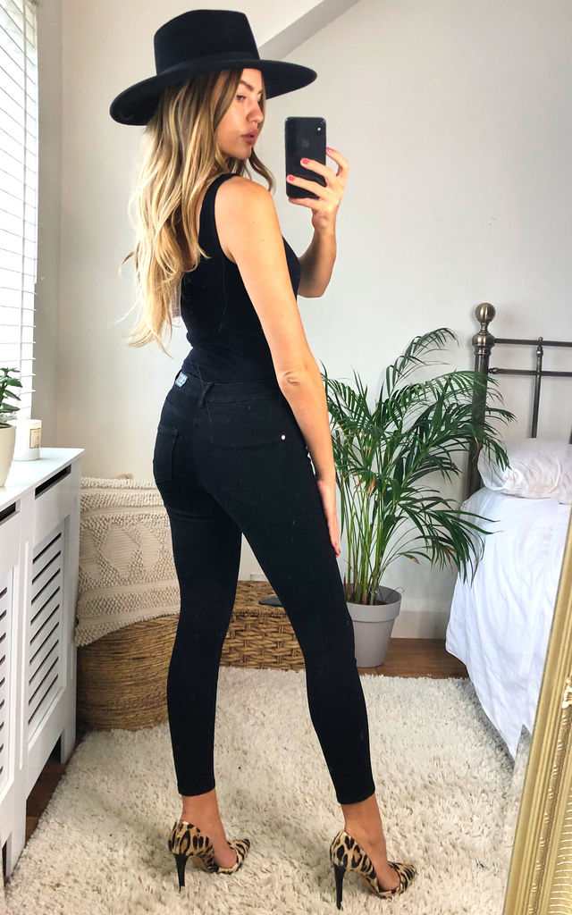 Black Mid Waist Skinny Jeans in Black by ONLY