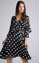 Black Polka Dot Frill Detail Wrap Midi Dress by LOVE SUNSHINE