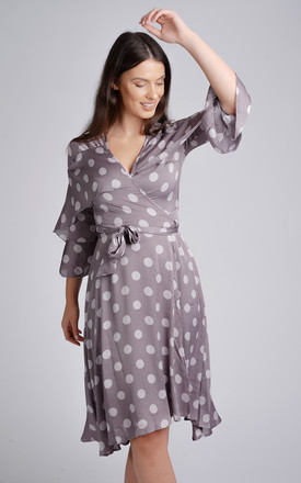Grey Polka Dot Frill Detail Wrap Midi Dress by LOVE SUNSHINE