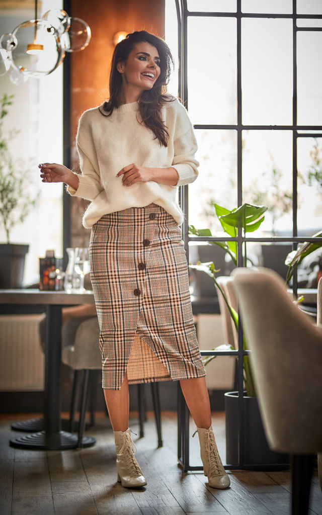 Midi Skirt with Buttons in Brown Check Pattern by AWAMA