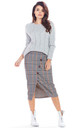Midi Skirt with Buttons in Navy Blue Check Pattern by AWAMA