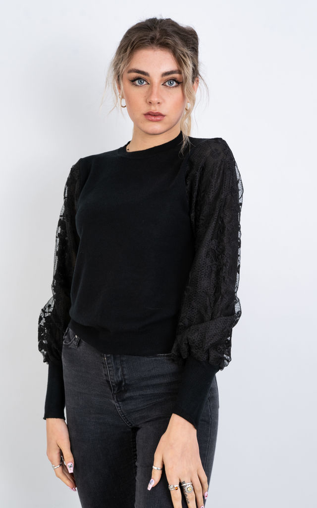 Floral Mesh Jumper (Black) by Lucy Sparks