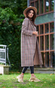 Trench Coat with Pockets in Brown Check Pattern by AWAMA