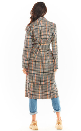 Trench Coat with Pockets in Navy Blue Check Pattern by AWAMA