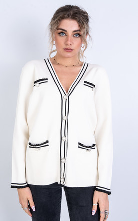 Cardigan with Decorative Buttons (White) by Lucy Sparks