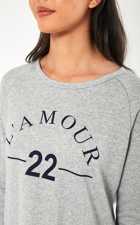 L'amour Slogan Sweater in Grey by Marc Angelo