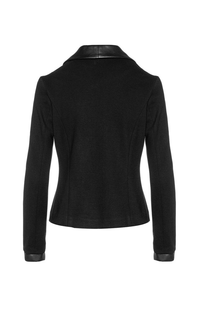 Black Fitted Jacket with Faux Leather Detail by Conquista Fashion