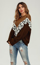 Chocolate Brown & White Leopard Striped Jumper Top by FS Collection