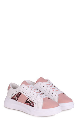 Nancy White Platform Trainer With Pink Suede & Snake Print Detail by Linzi
