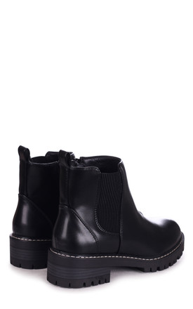 Edie Black Nappa Chunky Chelsea Boot With White Stitching by Linzi