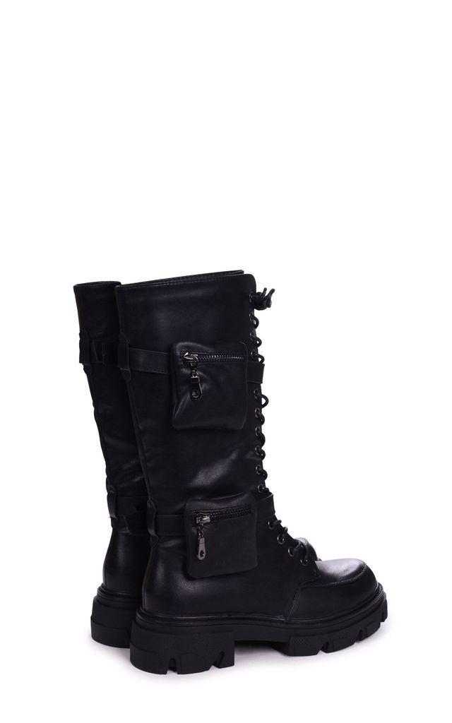 Astro Black Nappa Long Lace Up Military Style Boot Double Pocket Detail by Linzi