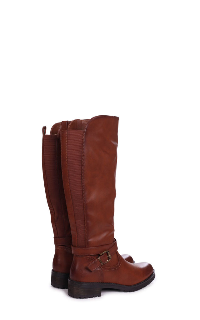 Sage Tan Nappa Classic Elasticated Riding Boot With Buckle Detail by Linzi