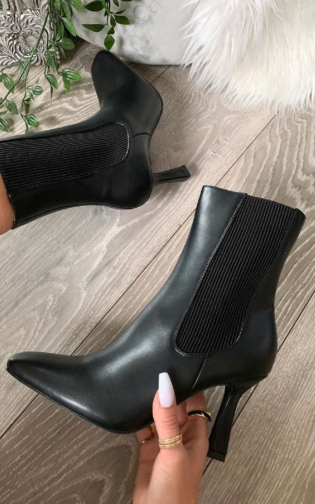 Tasha Heeled Ankle Boots in Black by IKRUSH