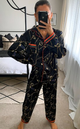 Kylie Printed Pyjama Co-ord in Black by IKRUSH