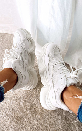 Chunky Trainers In White by Truffle Collection Product photo