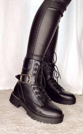 Lace Up Boots With Buckle Strap In Black by Truffle Collection Product photo