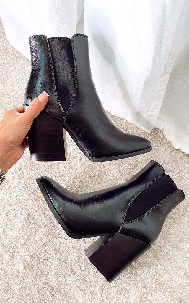 Ankle Boots with Block Heel in Black by Truffle Collection