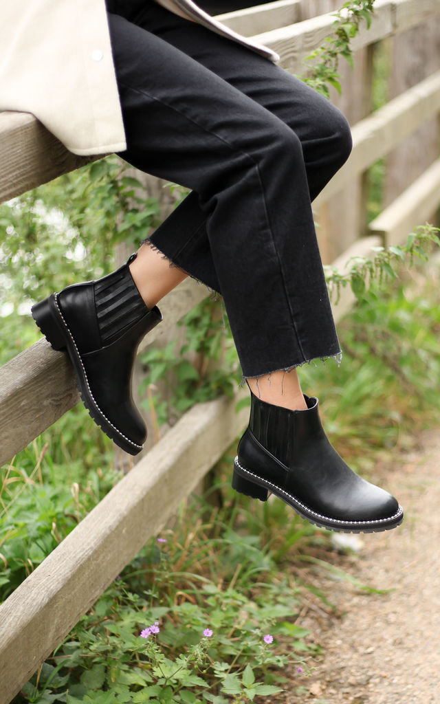 Liberty Black Nappa Classic Chelsea Boot With Studded Sole Detail by Linzi