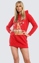 Elsie Christmas Rudolph Hooded Xmas Knit Tunic Sweatshirt Dress In Red by Oops Fashion