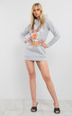Elsie Christmas Rudolph Hooded Xmas Knit Tunic Sweatshirt Dress In Grey by Oops Fashion