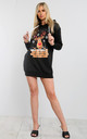 Elsie Christmas Rudolph Hooded Xmas Knit Tunic Sweatshirt Dress In Black by Oops Fashion